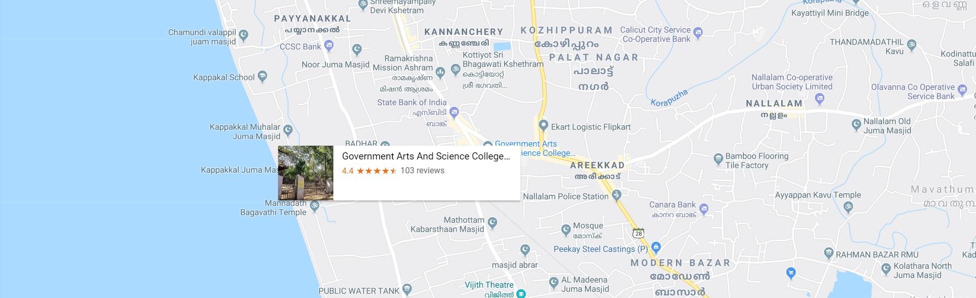 Govt arts college map